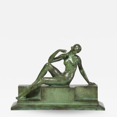 Art Deco Patinated Figurative Bronze Sculpture Signed Marguerite Anne de Blonay