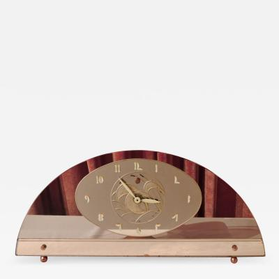 Art Deco Peach Mirrored Electric Clock