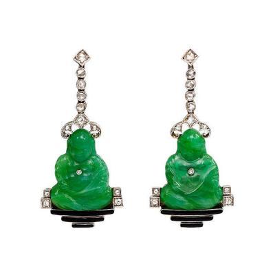Art Deco Peking Glass Buddha Earrings with Diamonds and Enamel
