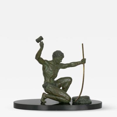 Art Deco Period Cold Painted Metal Sculpture of Man Hammering Bronze circa 1930s