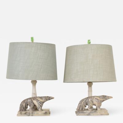 Art Deco Period Pair of Italian Alabaster Table Lamps Ant Eater Sculptures
