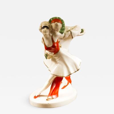 Art Deco Pierrot and Pierrette Porcelain Figurine of Ballet