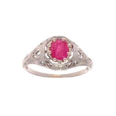 Art Deco Pink Sapphire Diamond Gold Engagement Ring