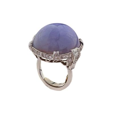 Art Deco Platinum Diamond 95 ct Star Sapphire Ring