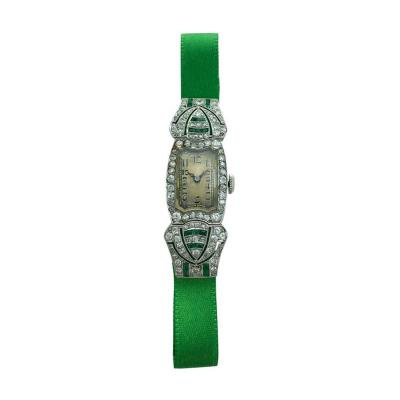 Art Deco Platinum Diamond Emerald Wristwatch 1920s