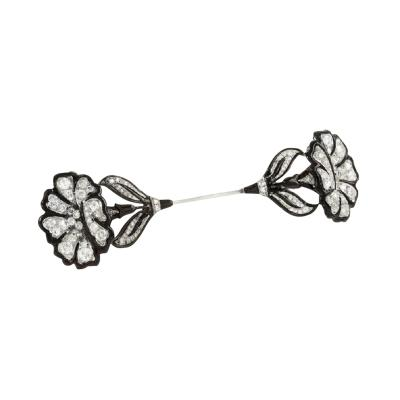 Art Deco Platinum Diamond and Enamel Jabot Pin