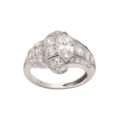 Art Deco Platinum Marquise Diamond Cocktail Ring