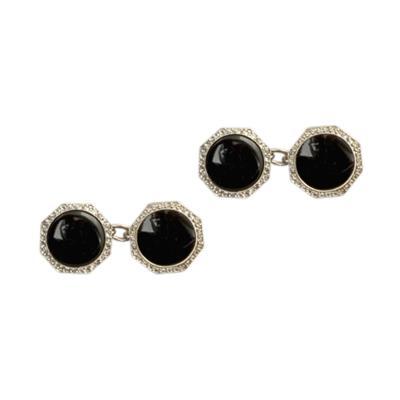 Art Deco Platinum Onyx and Diamond Cuff Links