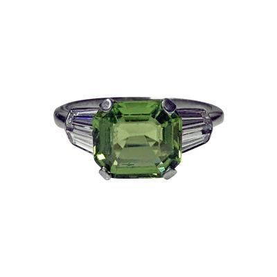 Art Deco Platinum Peridot Diamond Ring C 1920