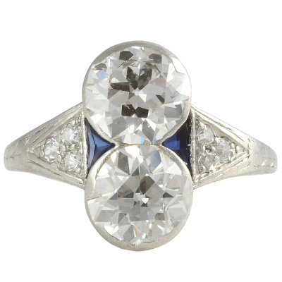 Art Deco Platinum VVS2 VS2 3 16 CTW European Cut Diamond Ring