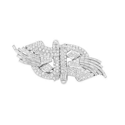 Art Deco Platinum and Diamond Double Clip Brooch