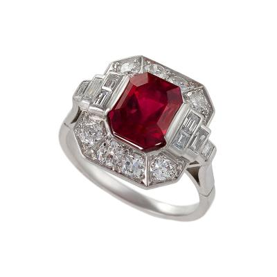 Art Deco Red Spinel Diamond and Platinum Ring