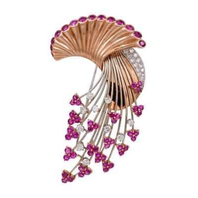 Art Deco Retro Ruby and Diamond Brooch