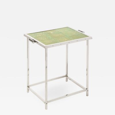 Art Deco Revival Modernist Polished Aluminum Side Table with Shagreen Top