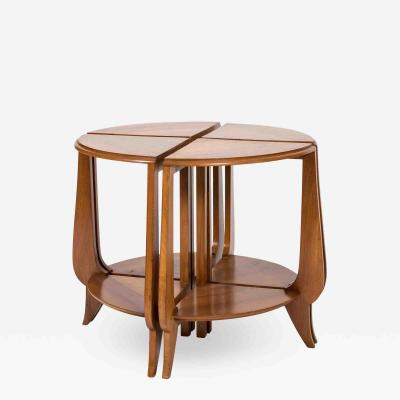 Art Deco Round Walnut Coffee Table Four Nesting Tables