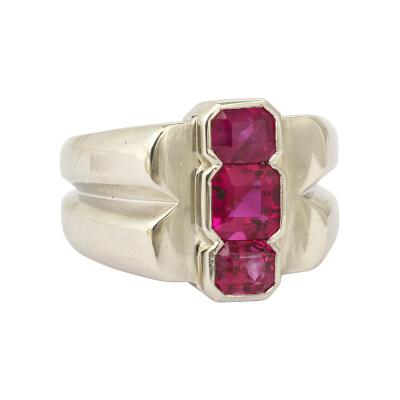 Art Deco Ruby Three Stone Men s Ring