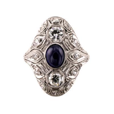 Art Deco Sapphire And Diamond Dinner Ring