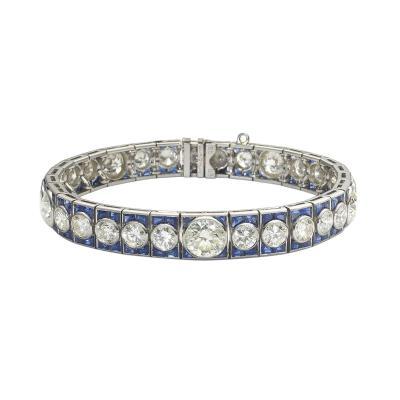 Art Deco Sapphire Diamond Bracelet