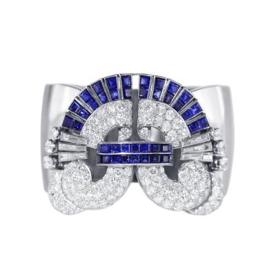 Art Deco Sapphire Diamond Platinum Cuff Bracelet