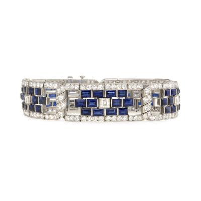 Art Deco Sapphire and Diamond Bracelet with Twisted Hinges