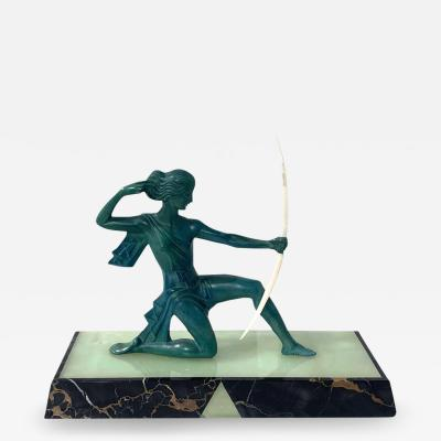 Art Deco Sculpture Diana kneeling by Gual Bronze Ivory France circa 1928