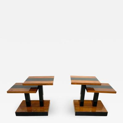 Art Deco Side Tables Walnut Veneer and Black Polish France circa 1930