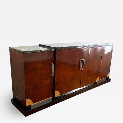 Art Deco Sideboard Walnut Roots Green Marble Southern France circa 1930