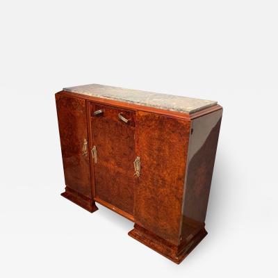 Art Deco Sideboard Walnut Roots Veneer Marble Brass France circa 1930