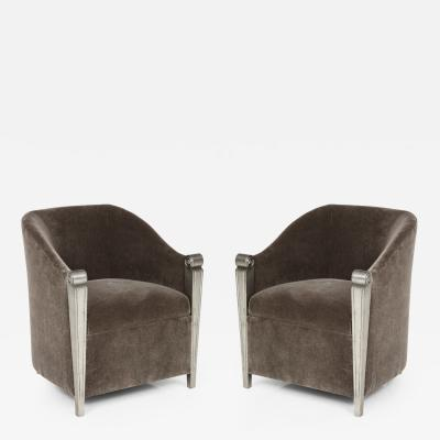 Art Deco Silver Leaf and Mohair Club Chairs
