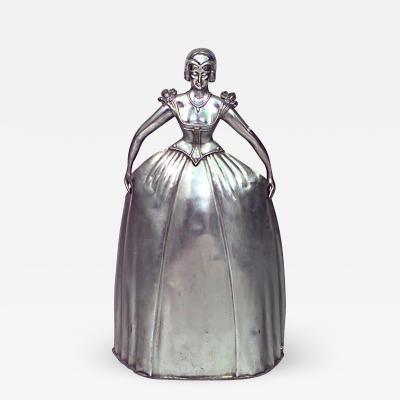 Art Deco Silver Plated Metal Figure of Woman in Dress Fire Screen