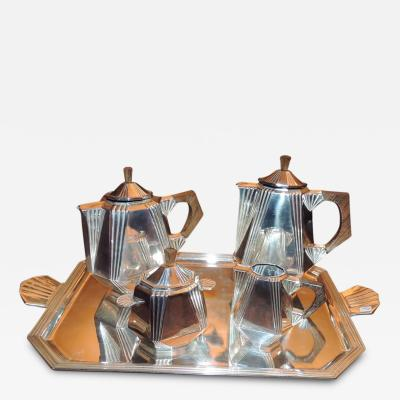 Art Deco Silver Tea and Coffee Set with Tray