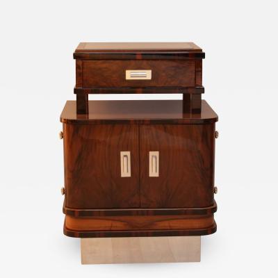 Art Deco Small Furniture Nightstand Walnut and Macassar France circa 1930