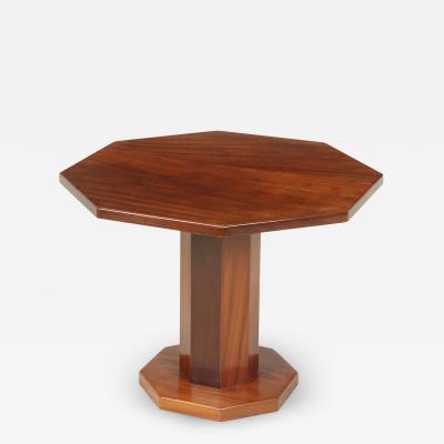 Art Deco Solid Walnut Octagonal Table