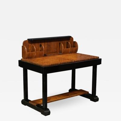 Art Deco Streamlined Burled Bookmatched Carpathian Elm Walnut Lacquer Desk