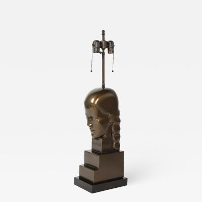 Art Deco Style Bronze Bust Mounted as a Lamp
