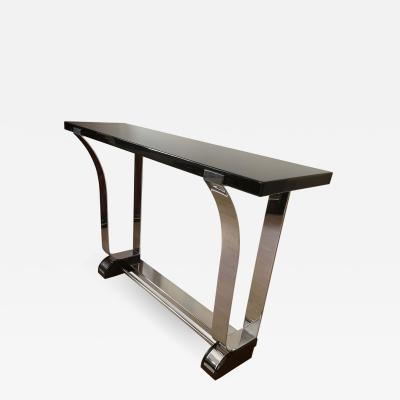 Art Deco Style Console Table Curved Stainless Stell and Black Lacquer