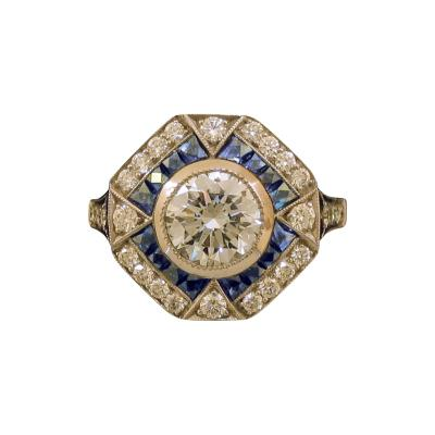 Art Deco Style Diamond Ring with Sapphires