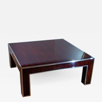 Art Deco Style Ebony deMacassar and Polished Nickel Low Table