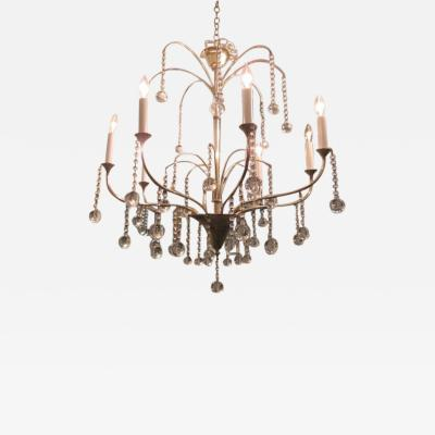 Art Deco Style Eight arms Chrome Chandelier with Crystal Drops