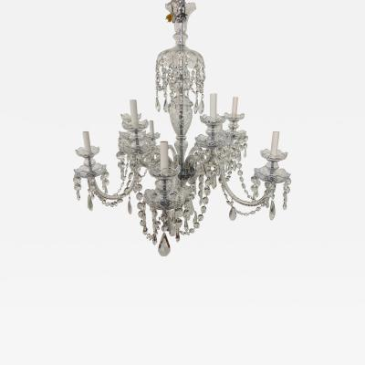 Art Deco Style Large Crystal Chandelier in the Manner of Waterford