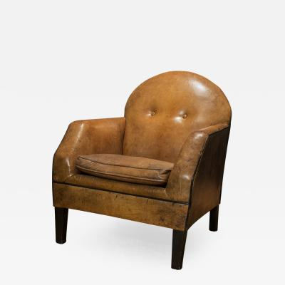 Art Deco Style Leather Armchair from Holland