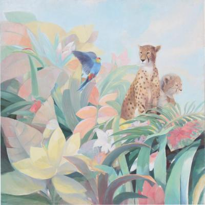 Art Deco Style Monumental Art Painting of Tropical Cheetah
