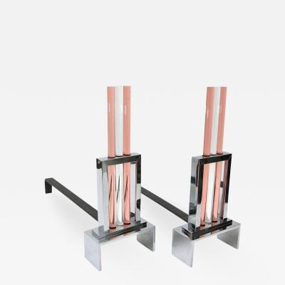 Art Deco Style Polished Chrome and Glass Pair of Fireplace Andirons
