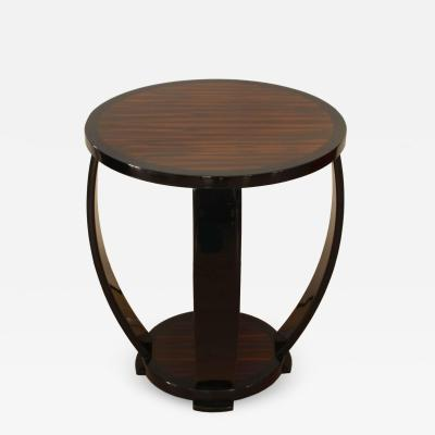 Art Deco Style Side Table Gueridon Macassar and Black Lacquer