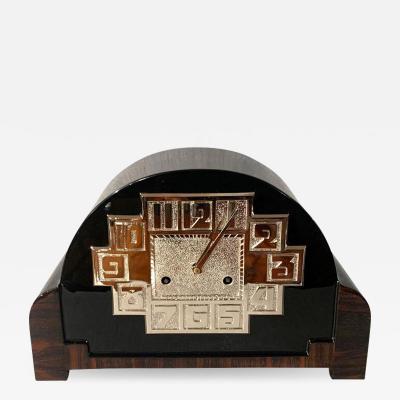 Art Deco Table Clock Macassar Black Lacquer and Nickel France circa 1930