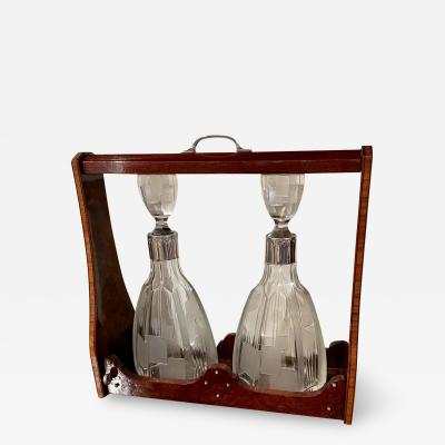 Art Deco Tantalus Set with 2 Geometric Etched Bottles