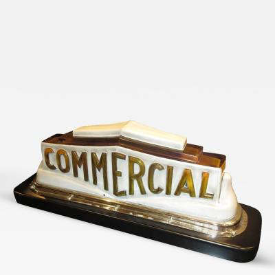 Art Deco Taxi Cab Lighted Sign in Molded Glass