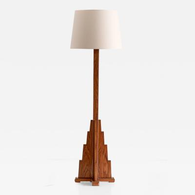 Art Deco The Hague School Floor Lamp in Oak 1930s