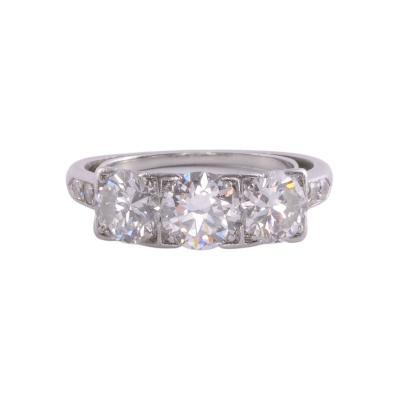 Art Deco Three Center Diamond Platinum Ring