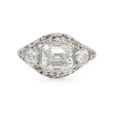 Art Deco Three Stone Diamond and Platinum Ring